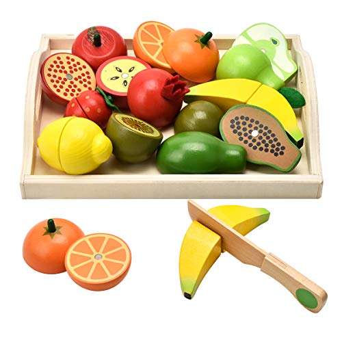 CARLORBO Wooden Toys for 2 Year Old - Pretend Play Food Set for Kids Play Kitchen,9 Cuttable Toy Fruit and Veg with Wooden Knif and Tray,Gift Idea for Boy Girl Birthday Kansas