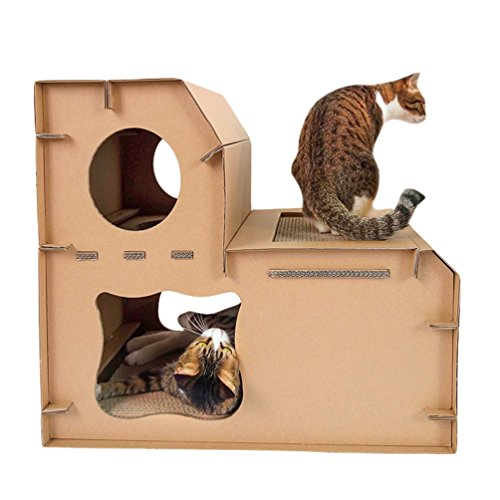 JEELINBORE Divertido Rascador Salón Cama Rascadores para Gatos Jaulas Casita Casa Cajas de cartón Corrugado para Mascota (Estilo # 3 Mejorado, 60x41x54cm)