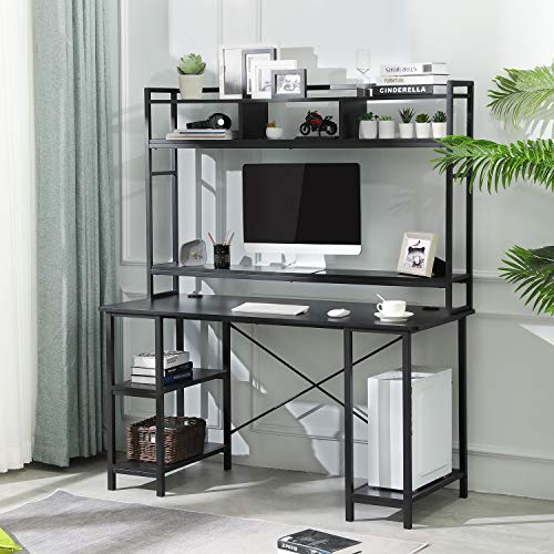 Sedeta Computer Desk with Hutch and Bookshelf, 55 Inches Office Desk with Adjustable Shelves, CPU Stand, Writing Desk with Storage, PC Study Table Workstation for Home Office, Black