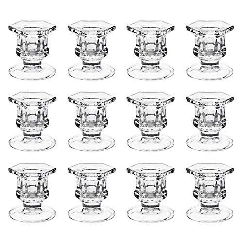 dedoot Candle Holders, Pack of 12 Glass Taper Candle Holders Centerpiece Clear Candlestick Holders Fit 3/4' Taper Candle, Decorative Candle Stand for Table Wedding Party
