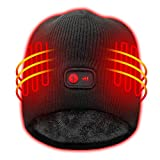 Autocastle Heated Hat with Rechargeable Battery,3 Heat Black