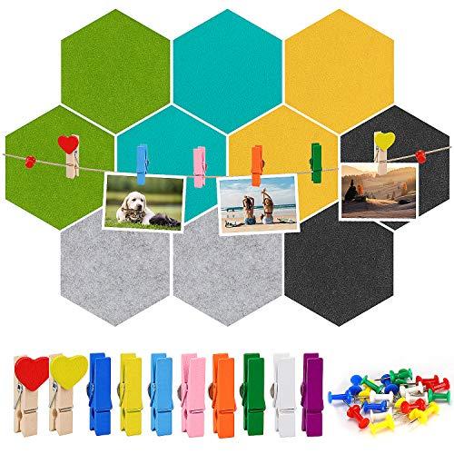 Meetory10 Stück Sechseckig Filz Memoboards Selbstklebende Bunte Filzboard Pinnwand Wandaufkleber mit 41 Stück Push Pins Holzclips Kit, für Heim- und Bürodekor