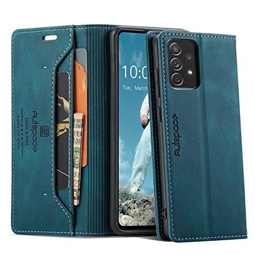 Caselover Funda para Samsung Galaxy A72, Premium Carcasa Piel PU Suave Flip Folio Caja para Samsung Galaxy A72 4G/5G Fundas Retro Estilo Libro Cuero Cartera Protective Case con Bloqueo RFID, Azul