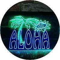 Aloha Palm Tree Illuminated Dual Color LED看板 ネオンプレート サイン 標識 緑色 + 青色 600 x 400mm st6s64-i0699-gb