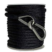 "Rainier Supply Co Double Braided Nylon Anchor Rope - 3/8"" x 100' Anchor Line/Boat Anchor Rope with 316SS Thimble and Heavy Duty Marine Grade Snap Hook, Black"