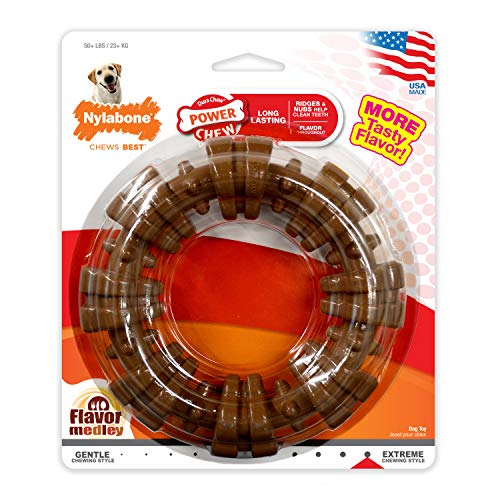Nylabone Dura Chew Power Chew Textured Ring, Large Durable Dog Chew Toy, Great for Aggressive Chewers (NCF315P), Brown