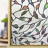 KUNHAN adesivo per finestra vetro 45 * 200 cm Senza Colla Opaca Privacy Pellicola Decorativa per Vetri Pellicola Adesiva Statica Adesivo Colorato Foglie Colorate Home Decor