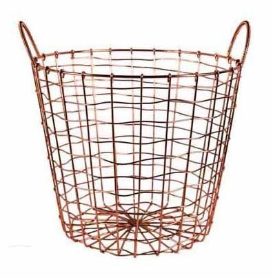 Wire Storage Basket and Waste Bin – Copper Plated Metal Bin with Two Handles for Office, Bedroom, Living Room, Closet and More - by Designstyles