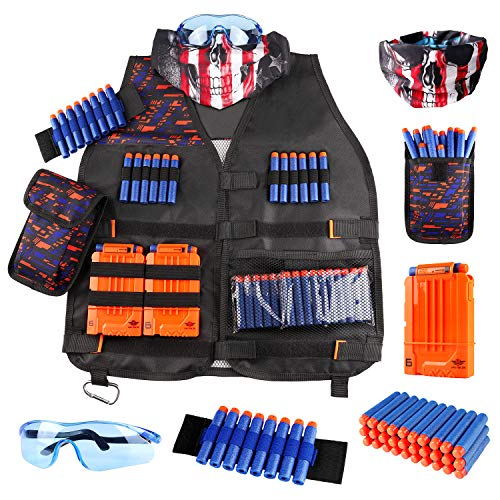 Kids Tactical Vest Kit for Nerf Guns NStrike Elite Series with Refill Darts Dart Pouch Reload Clip Tactical Mask Wrist Band and Protective Glasses for Boys