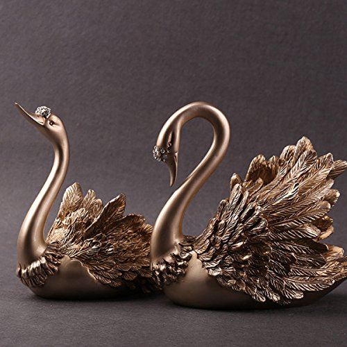MERRYHE Swan Statues Ensembles Cygnes Couple Sculptures Ornements pour Salon Décoration TV Cabinet Décoratif Modèle Chambre Porche Fenêtre Affichage Amour Cadeau,Gold-Couple