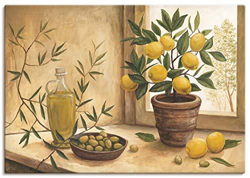 Artland Leinwandbild Wandbild Bild auf Leinwand 70x50 cm Wanddeko Stillleben Toskana Mediterran Oliven Zitrone Essen Lebensmittel Malerei T4HV