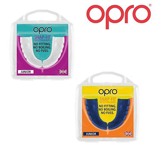 Opro Twin Pack– Mundschutz Junior Snap Passform, für Rugby, Hockey, MMA, Boxen, (blau + weiß Farben)