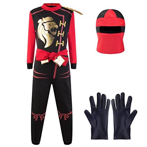 Katara 1771 - Ninja Kostüm Anzug, Kinder, Verkleidung Fasching Karneval, Größe M, Rot Schwarz