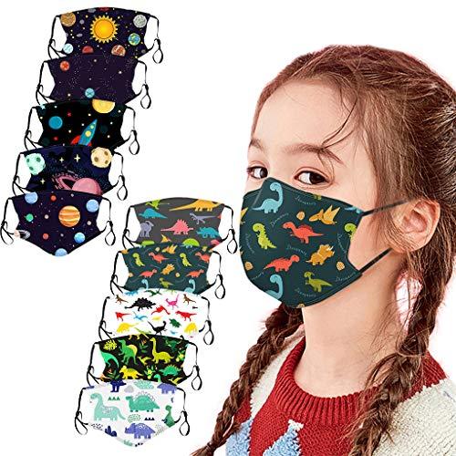 10 Stück Kinder Mundschutz Multifunktionstuch 3D Cartoon Druck Maske Animal Print Atmungsaktive Baumwolle Stoffmaske Waschbar Mund-Nasenschutz Tiermotiv Bandana Halstuch Jungen Mädchen (O-10PC)