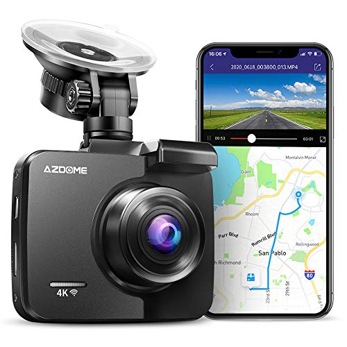 4K Dash Cam, AZDOME Ultra HD 2160P Car Camera with WiFi GPS, Dashboard DVR Driving Recorder with 170 °Wide Angle, WDR, Super Night Vision,G-Sensor, Support 128GB Max