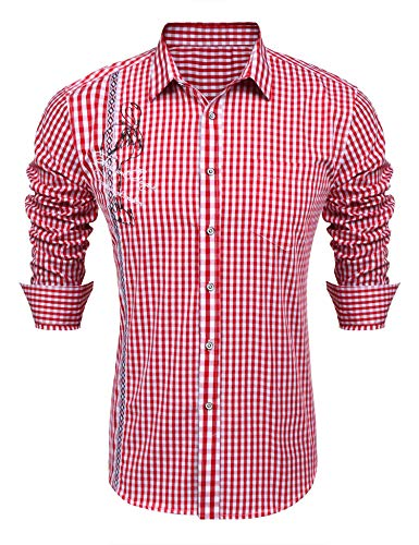 COOFANDY Trachtenhemd Herren Kariertes Hemd Slim Fit Langarm Oktoberfest Karohemd für Männer Rot M