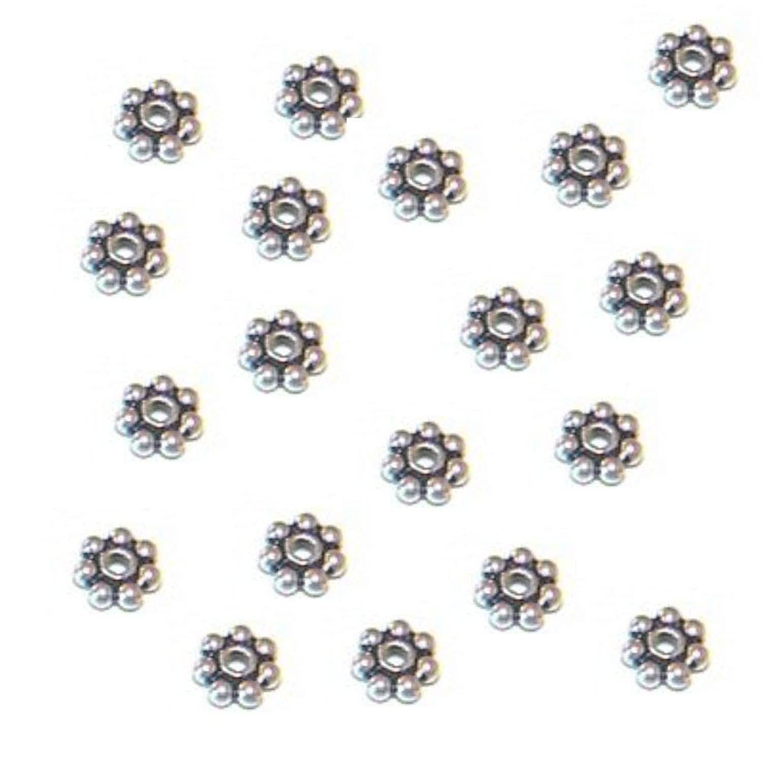 Hidden Hollow Beads 100 Pcs 4 mm Sterling Silver Bali Daisy Spacer,Antiqued