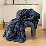 Bedsure Low-Voltage Electric Heated Blanket Throw - Faux Fur Sherpa Heating Blanket with Safe & Warm Low Watt Technology (Navy, 50x60 inches)