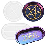 2 Pcs Pentagram and Triple Moon Goddess Tray Resin Mold Round Oval Candle Plate Storage Box Silicone Molds Perfect for DIY Crafts Making Home Decoration Handmade Gifts Dish Holders