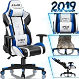 Homall Gaming Chair Racing Style High-Back PU Leather Office Chair Computer Desk Chair Executive and Ergonomic Swivel Chair with Headrest and Lumbar Support (White/Blue)