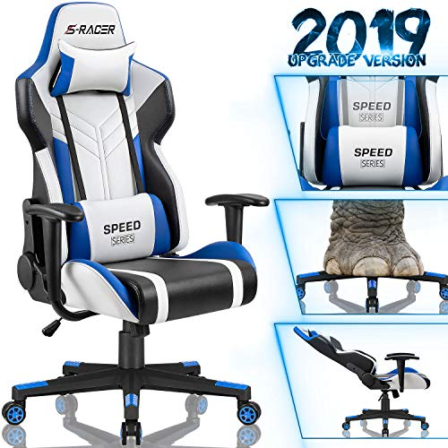 Homall Gaming Chair Racing Style High-Back PU Leather Office Chair Computer Desk Chair Executive and Ergonomic Swivel Chair with Headrest and Lumbar Support (White/Blue) blue chair gaming