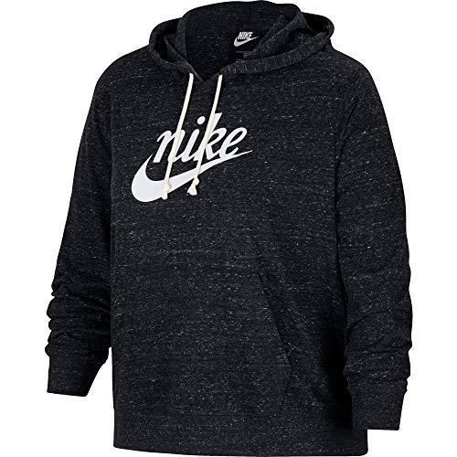 NIKE 193655041426 Hooded Sweatshirt, Black/Sail, 2X Womens