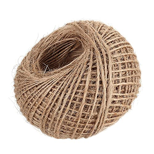 328 Feet 100m Jute Twine, 2mm Natural Jute Hessian String Cord Twine for Arts and Crafts, Gift Wrapping, Floristry, Rustic Jars, Decoration, Bundling, Garden and Recycling (Jute Twine 100m)