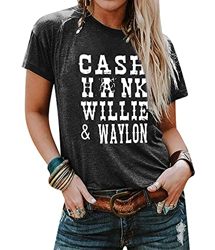 LUKYCILD Vintage Graphic Tees Women Cash Hank Willie and Waylon Letter Print Shirt Country Music Tops Gray