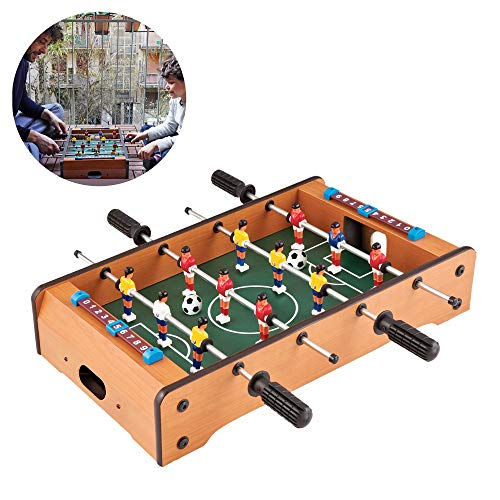 HAKOL Fun Little Games- Mini Tabletop Soccer Game Desktop Foosball Table for Kids, Teens, and Adults. Indoor Foozeballs Table for Table Top Game-20 Inch Soccer Table Game Foosball Tables