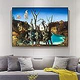 Salvador Dali Swans Reflecting Elephants lienzo pintura carteles abstractos e impresión cuadro de arte de pared decoración de sala de estar 50x75cm (19.69x29.53in) sin marco