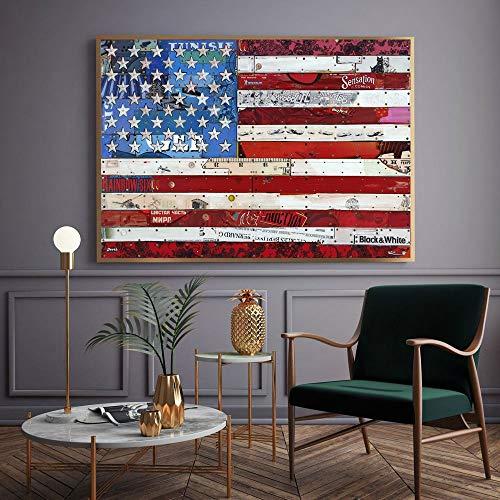 Geiqianjiumai Bandera Collage Carteles e Impresiones Arte Pintura sobre Lienzo decoración del hogar Pared Sala Imagen sin Marco Pintura 50x75 cm