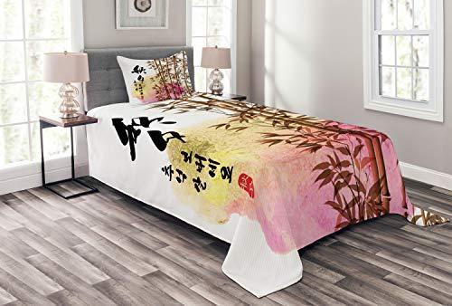 ABAKUHAUS Bambus Tagesdecke Set, Japanischer Bambus Asiatische, Set mit Kissenbezug Ohne verblassen, für Einzelbetten 170 x 220 cm, Mehrfarbig