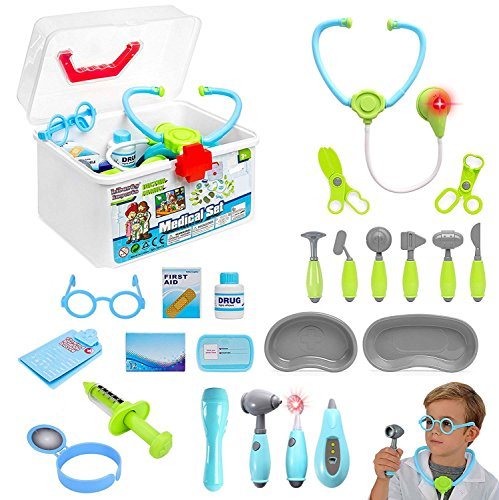 Liberty Imports Kids Doctor Set | 24 Pieces Role Play Nurse Medical Box Kit with Electronic Stethoscope & Pretend Play Accessories - Educational Gift for 3, 4, 5, 6 Year Old Boys, Girls
