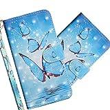 COTDINFOR LG V50 ThinQ Hülle 3D-Effekt Painted cool Schutzhülle Flip Bookcase Handy Tasche Schale mit Magnet Standfunktion Etui für LG V50 ThinQ Three Blue Butterflies YX.