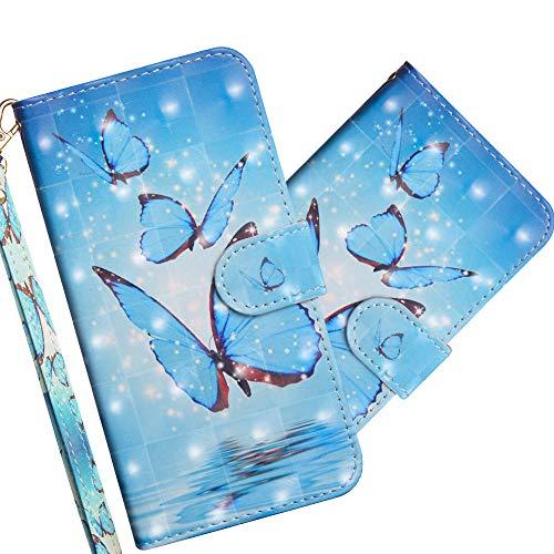 COTDINFOR Huawei Y5 2019 Hülle 3D-Effekt Painted cool Schutzhülle Flip Bookcase Handy Tasche Schale mit Magnet Standfunktion Etui für Huawei Y5 2019 / Honor 8S Three Blue Butterflies YX.