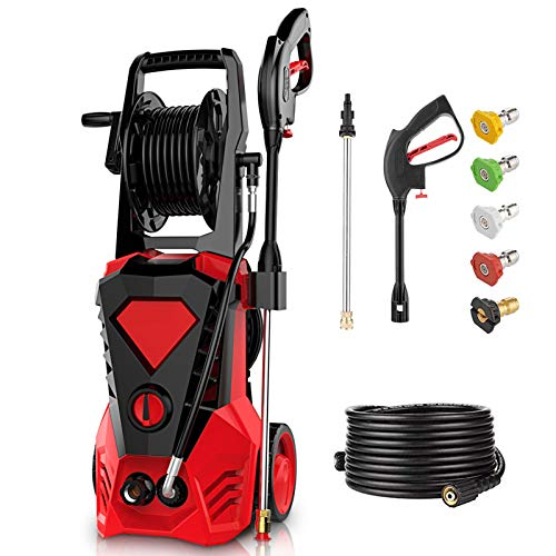 powertec pressure washers 3500PSI Electric Pressure Washer 2.6GPM Power Washer 1800W High Pressure Washer Cleaner Machine with Spray Gun, 5 Nozzles, Hose Reels & Detergent Tank (Red)