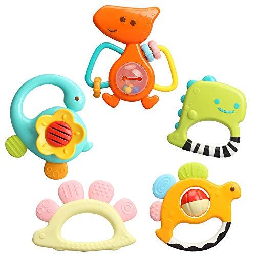 TINOTEEN Juego de Juguetes de sonajeros de bebé, Juguete de sonajero de Agarre de mordedor de 5 Piezas para 3 6 9 12 18 Meses bebés recién Nacidos