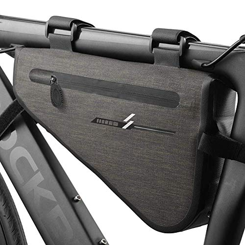 ZHANGXJ MTB Nylon Bolsas para el Manillar Impermeable Bolsa Bici Equipo de Ciclismo al Aire Libre Bolsa Táctil de Tubo Superior Delantero Bolsas de Bicicleta, Gris Herramienta