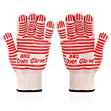 Oven Gloves Grill Gloves Extreme Heat Resistant Oven Gloves - EN407 Certified 932F - Cooking Gloves for BBQ, Grilling, Baking,Cutting, Welding, Smoker Fireplace,2 Pack (red)