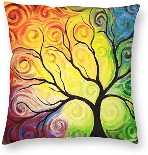 BONRI Funda de Almohada Colorida con Rama de árbol de la Vida de arcoíris, Decorativa, Cuadrada, Funda de Almohada para Dormitorio, Sala de Estar, sofá, sofá y Cama, 16 x 16 Pulgadas