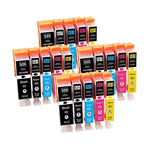 Tinnee 20 unidades 520xl 521xl Cartucho de tinta, Reemplazo para Canon PGI-520 CLI-521 cartuchos, compatibles con Canon Pixma MX860 MX870 MP980 iP4600 iP4700 MP560 MP640 MP550 MP540 MP620 MP630. .