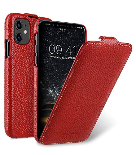 MELCKO Hülle passend für Apple iPhone 11 (6,1 Zoll), Handyhülle mit beschichtetem Leder, Flip-Hülle, Schutzhülle klappbar, dünne Handy-Tasche, Slim Cover, Rot