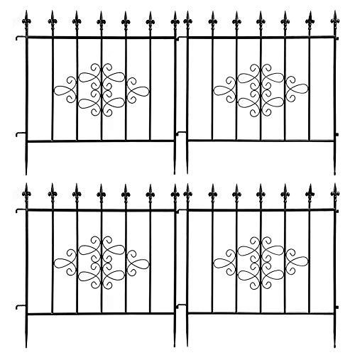 Cocoarm 4 Stück Teichzaun Set, Teichzaun Metall Gartenzaun Teich Zaun Set 63x65cm Gartenzaun im Freien für Garten- und Blumenbeete am Straßenrand