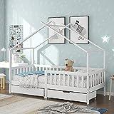 Cama infantil de 90 x 200 cm, bonita cama con protección anticaídas, 2 cajones, madera maciza con valla y somier, cama para niños y jóvenes.