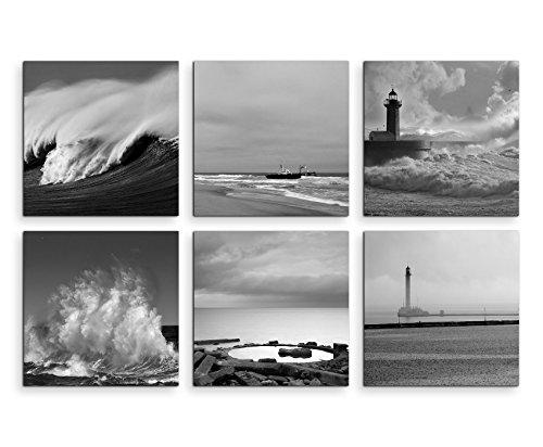 6 quadri moderni da 20 x 20 cm – nero bianco faro mare spiaggia