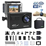 Actioncam 4K WIFI Action cam 1080P/60fps 20MP, 2.4 G Fernbedienung, 2 verbesserte Akkus,...