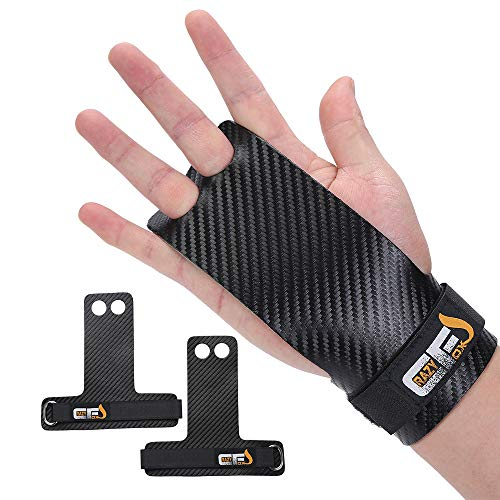 CrazyFox Gymnastics Hand Grips Palm Protection Gloves and Wrist Support for Cross Training Kettlebells Powerlifting Chin Ups Barbell Pull Ups WODs Fitness Workout (2 Holes, Smalll)