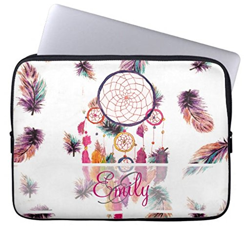 11.6-12 Inch Laptop Sleeve Cute Monogram Hipster Watercolor Dreamcatcher Feathers Notebook Computer Case for Apple MacBook Acer Samsung Ultrabook Asus Fujitsu Lenovo HP Sony Toshiba Powerbook