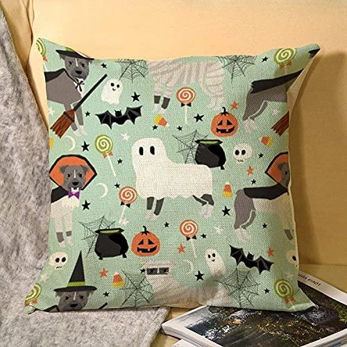 MODORSAN Funda de Almohada Cuadrada de Lino Tamaño estándar Pitbull Disfraces de Halloween Mascota 18