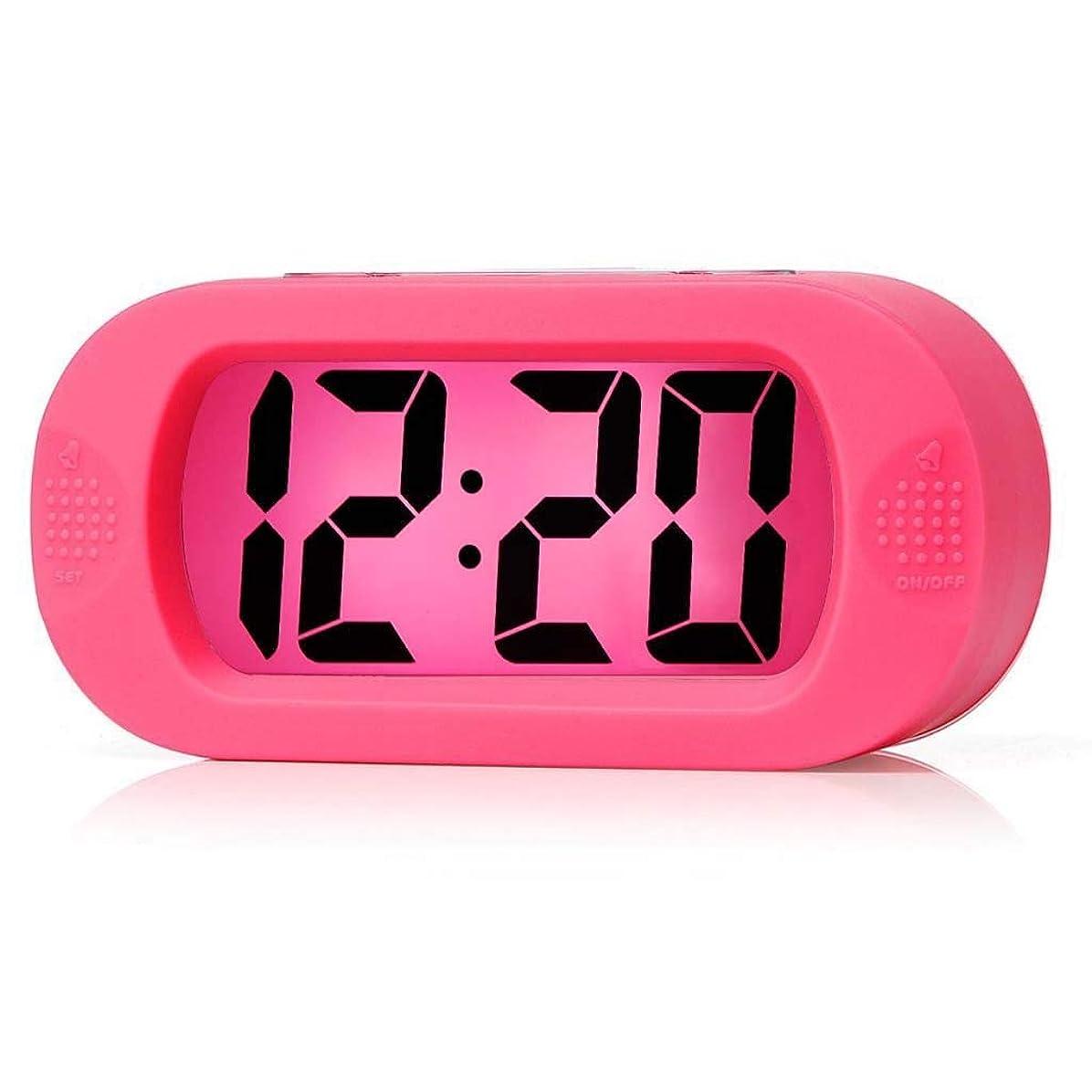 権限を与えるケニアしたいクリエイティブと汎用ファッション電子時計電子目覚まし時計ナイトライトアラーム/黒目覚まし時計電子時計 (色 : ピンク)